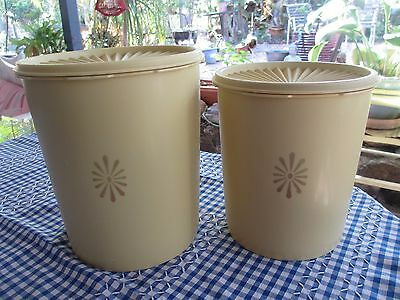 Vintage  Tupperware Yellow Servalier Canisters  x 2
