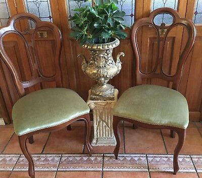 Antique Chairs X 2 Dining Bedroom Timber Velvet Carved