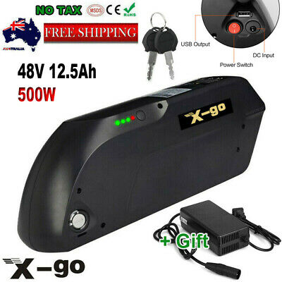 48V 12.5Ah 500W Black TIGER SHARK Lithium Battery for Electric Bicycles E-Bike