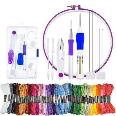 Stickerei Pen Tool Craft Set Nähen Hoop Punch Nadeln Einfädler 50 Embroidery Kit