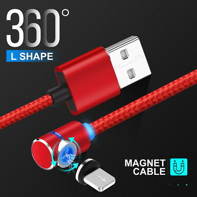 90 Degree Round Lightning USB Magnetic Charging Cable Fast Charger for iPhone X