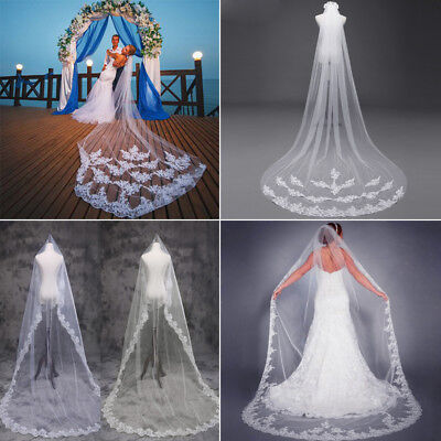 Ivory or White Chapel Length Cathedral Applique Edge Wedding Bride Lace Veil 3M
