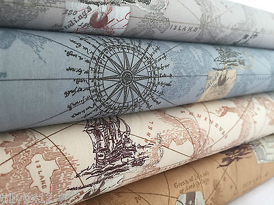 Antique Vintage Map print 100% cotton poplin fabric Nautical Ocean Boat Ship