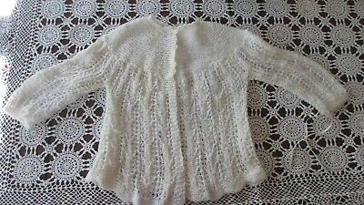 Vintage  Baby knitted cardigan White,beautifully handmade by GREAT NANA