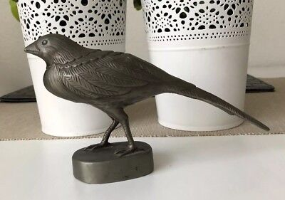 VINTAGE CHINESE CARVED BRONZE BIRD STATUE FIGURE Argent Colour CHINA man cave