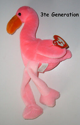 TY BEANIE BABY BABIES Flamingo Pinky zip locked - tag protected