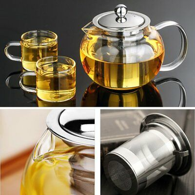 500-1300ml Glass Teapot Tea Leaf Pot with Stainless Infuser Filter & Lid  BestHH