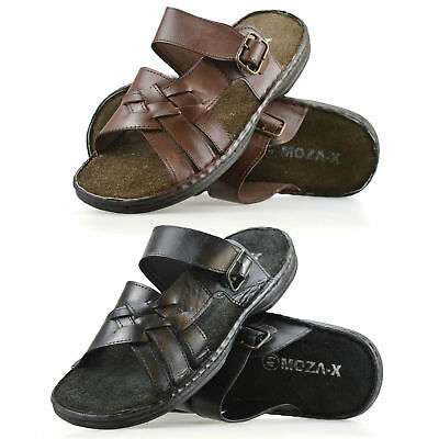 Mens Brown Leather Mules Flip Flops Beach Summer Walking Shoes Sandals Size 6-11