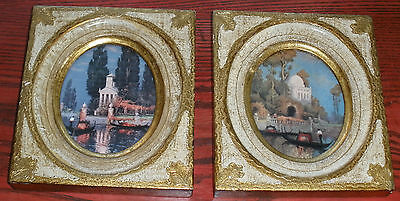 Vintage Pair Italian Florentine Gilt Gondola Prints Shabby Hollywood Regency