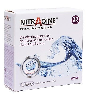 Nitradine Senior Denture ~ 20 Cleaning Tablets 10wk Supply ~ 1, 2 or 4 Boxes