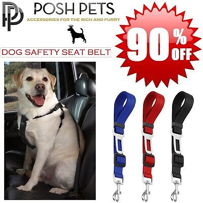 POSH PETS Adjustable DOG PET Car Safety SEAT BELT Harness Travel Lead Restraint