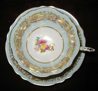 Sale! STUNNING PARAGON AQUA WITH GOLD ACCENTS AND FLORAL CENTER TEA CUP + SAUCER
