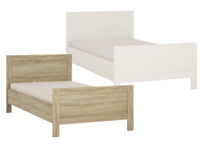 Crescita Single bed in Sonama Oak and Pearl White Wooden Bed frame Bedroom Beds