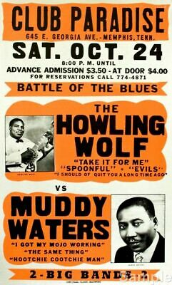 Vintage Howling Wolf, Muddy Waters USA Blues Concert Art Print Poster Reprint A4