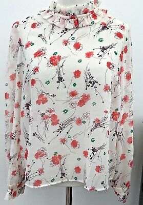 Pretty V By Very  Floral Print High Ruffle Neck Blouse Size 14 NWTS