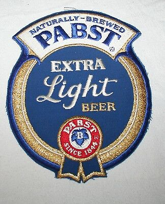"""VTG 1980s X-LARGE 8"""" PABST BLUE RIBBON PATCH SIGN TRUCK DRIVER MINT! NEVER USED"""