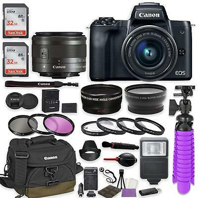 Canon EOS M50 Mirrorless Digital Camera (Black) with EF-M 15-45mm IS STM Lens