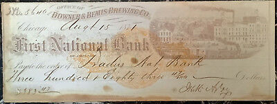 Chicago, IL - Downer & Bemis Brewing CO. - Traders National Bank - Check - 1871