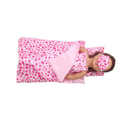 Night Sleeping Bag Set for 18inch American Girl Doll Accs Pink Sweat-heart