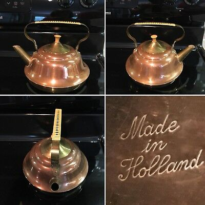 Vintage Copper and Brass Tea Kettle Rattan Handle Made in Holland Rare