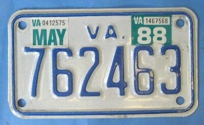 1988 Virginia Motorcycle License Plate