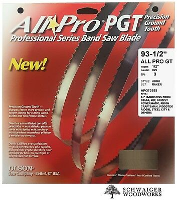 """Olson All-Pro Band Saw Blade 93-1/2"""" inch x 1/2""""  3TPI,  14"""" Delta, JET, Grizzly"""