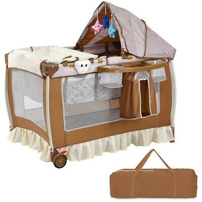 Newborn Baby Infant Crib Bassinet Bed w/ Music Box Mosquito Net Storage Pocket