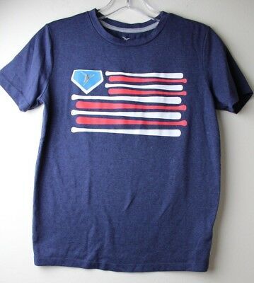 Old Navy Active Boys Youth Navy Blue American Flag Short Sleeve T-Shirt L 10-12