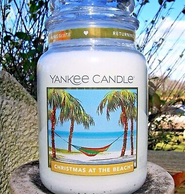 "Yankee Candle ""CHRISTMAS AT THE BEACH"" Festive Large 22 oz ~ WHITE LABEL~"