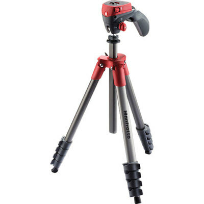 Manfrotto 5-Section Compact Action Aluminum Tripod Red, 3.31lbs Capacity,
