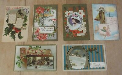 Nice Vintage Lot Of Six New Years Day Themed Postcards #3