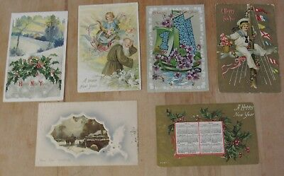 Nice Vintage Lot Of Six New Years Day Themed Postcards #2