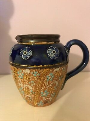 Antique Royal Doulton Lambeth Handpainted Floral Stoneware Jug -