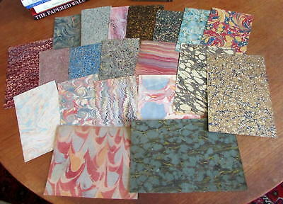 old Marbled Paper lot of 20 antique lovely sheets made 1732-1890's