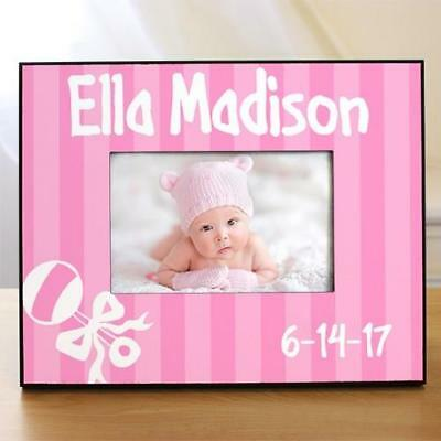 Personalized New Baby Girl Picture Frame Printed Rattle Pink Baby Photo Frame