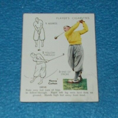 Golf 1939 Card No 9 Drive Henry Cotton Players Cigarette Card Odd