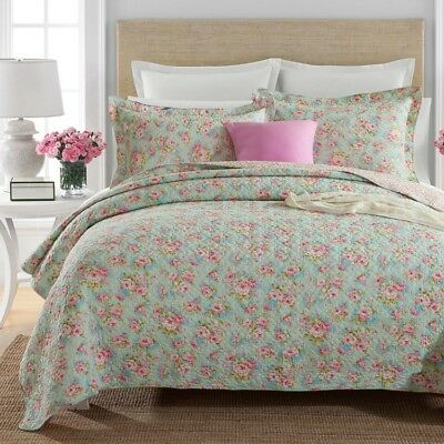 Reversible Quilted Cotton Coverlet Bedspread Set Queen Size 230x250cm Rose