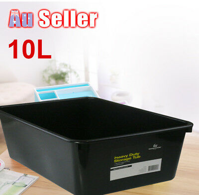 4pcs 10L Heavy Duty Storage Tubs Black Plastic Containers Crate Bin Boxes Basket