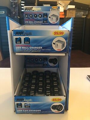 Cell Phone Chargers--New Car & Wall(110) Charger Retail Display-Resale-36 Count