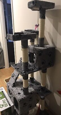 Cat Tree 170 Grey Pet Scratcher Post Condo Poles House Gym Furniture Scratching