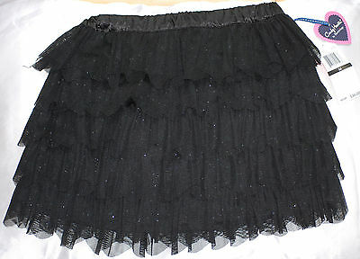 NWT Hartstrings Big Girls Elastic Waist Black Tulle Tiered Sparkle Skirt, Sz L