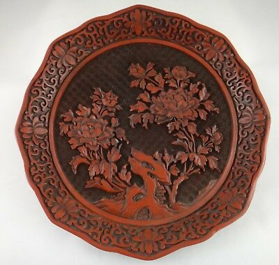 "Antique Chinese Finely Carved Cinnabar Lacquer Bowl w/Floral Scenes. 9 ½"" d."