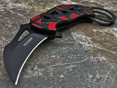 RED KARAMBIT SPRING ASSISTED OPEN POCKET KNIFE Tactical Folding Claw Blade EDC