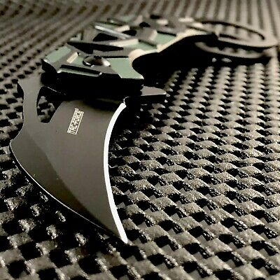 GREEN KARAMBIT SPRING ASSISTED FOLDING POCKET KNIFE Tactical Claw Blade EDC Open