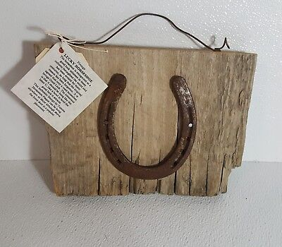 Antique Primitive Rustic Old Used Horseshoe on Old Barn Wood Decor
