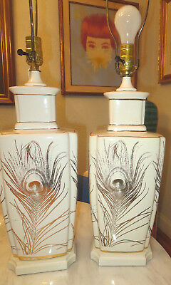 Pair of Automax New York Mid Century Vintage  Glass with Gold Motif  Table Lamp