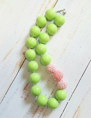 NEW Handmade Chunky Gumball Necklace Child Size Lime Green Pink
