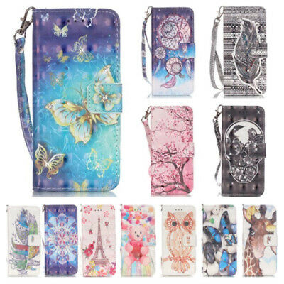 Stock Flip PU Leather Wallet Card Pockets Case Cover For iPhone Samsung Galaxy