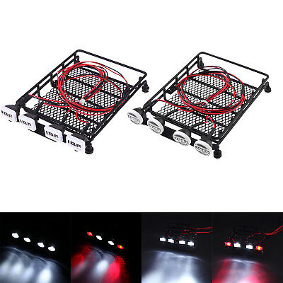 Universal Roof Luggage Rack 4 LED Light Lamp Bar for 1/10 RC SCX10 Car Crawler