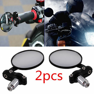 """1 Set Motorcycle Round 7/8"""" Bar End Rearview Side Mirrors For Bobber Cafe Racer"""